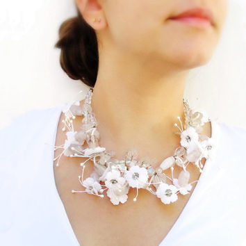 Natura  Fabric Flowers Bridal Necklace and by StaroftheEast