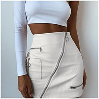 multi-zip leather utility skirt