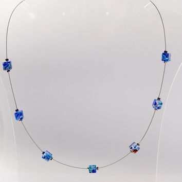 Blue millifiori necklace, cube necklace, illusion necklace