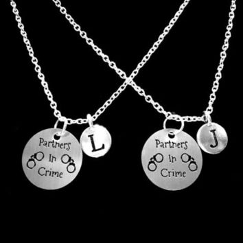 Choose Initials, Partners In Crime Best Friend Sister Gift Necklace Set