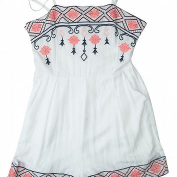 White Embroidery Adjustable Strap Romper Playsuit