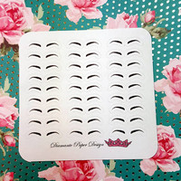27 kiss cut and ready to peel off Eyebrow Stickers! Perfect for your Erin Condren Life Planner, Filofax, Kikkik, Plum Paper