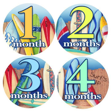 SURFER BOYS STICKERS 1-12 Month Baby Monthly One Piece Stickers Baby Shower Gift Photo Shower Stickers