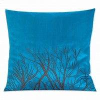 Okinawa Silk Embroidered Turquoise Blue Luxury Pillow Cover
