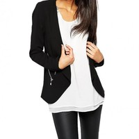 Draped Shawl Collar Blazer