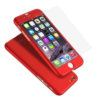 """iPhone 6 Plus Case, Coocolor Ultra Thin Full Body Coverage Protection Hard Slim iPhone 6 Plus Case with Tempered Glass Screen Protector for Apple iPhone 6 Plus 5.5""""(Red)"""