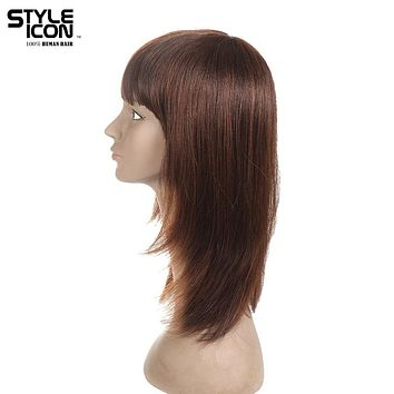 Styleicon Brazilian Virgin Hair Straight Human Hair Wigs For Women Classic Style 12 Inch Color 1b And F2/33 Free Shipping