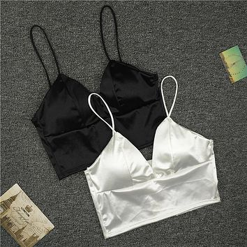 New Sexy Women Sexy Strap Silk smooth Plunge Bralette Bra Sleeping brassiere Push Up Bras sexy lingerie Top wireless bra top
