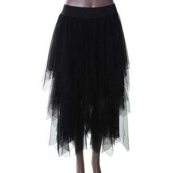 Free People Womens Tulle Tiered A-Line Skirt