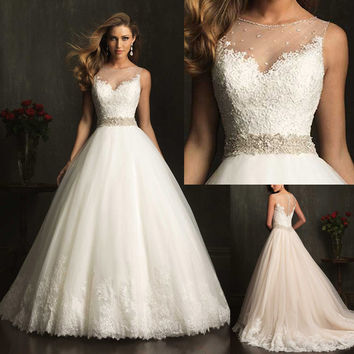 2016 New Fashion Modest Elegant Bridal A-line Appliqued Soft Tulle Custom Made Wedding Dress With Crystal  9079