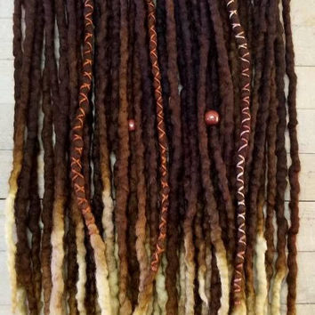 Custom Wool Dreads Handmade Hair Extensions Wool Dreads Ombre Hair Accessories Set of 20