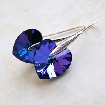 Purple Swarovski Crystal Heart Earrings Sterling Silver Dangle Valentines Violet Amethyst Bridesmaid Jewelry Wedding Jewelry