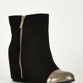 Zip Detail Hidden Wedge Ankle Boots