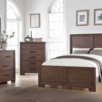 Mc Ferran B509 5 pc brianna collection wood toned colored finish paneled headboard style queen bedroom set