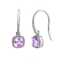 Sterling Silver Cushion Cut Gemstone and Diamond Accent Earrings (H-I Color, I2 Clarity, 0.01 cttw)