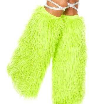 Neon Lime Green Standard Solid Fluffies Legwarmers