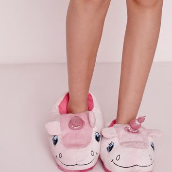 Missguided - Unicorn Slippers Pink