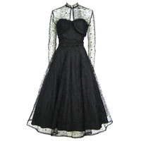 1940 50s STRAPLESS DAISY LACE FULL SKIRT PARTY DRESS & BOLERO