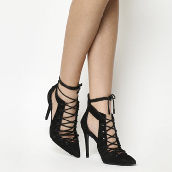 Kendall - Kylie Angel Lace Up Heel Black Suede - High Heels