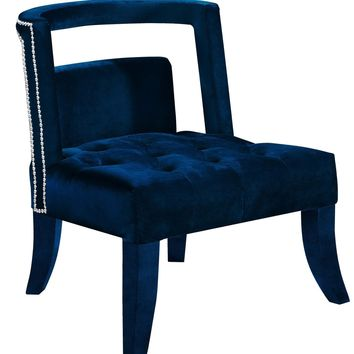 Tribeca Deep Tufting Navy Velvet Accent Chair