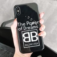 BALENCIAGA Fashionable Creative Couple Glass Mobile Phone Cover Case For iphone 6 6s 6plus 6s-plus 7 7plus 8 8plus X Black