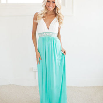 Venus's Low Cut Knit Maxi Dress in Jade giveaway