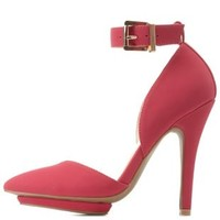 Hot Pink Ankle Strap & Pointy Toe Heels by Charlotte Russe