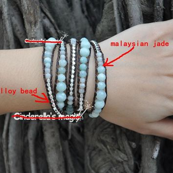 5 Layer Handmade Wrap Bracelet with various shades of Malaysian jade and silver alloy beads