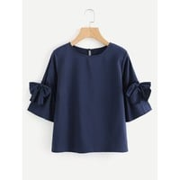 Navy Round Neck 3/4 Sleeve Length Blouse