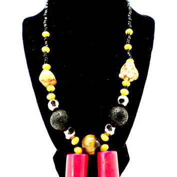 tigers eye pendant large lava beads handmade in Ghana fair trade statement necklace red necklace yellow necklace