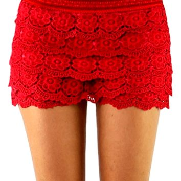 Crochet lace layered shorts with banded waist, Red. (Size S/M)