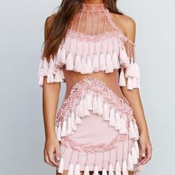 Fringe Diva Beaded Pink Sheer Mesh Tassel Fringed Cut Out Mock Neck Bodycon Mini Dress - Sold Out
