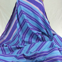 Kikoy Woven Cotton Fabric--Kenyan Fabric--Made in Kenya--Striped Purple and Sky Blue with Red Accents--African Fabric by the HALF YARD