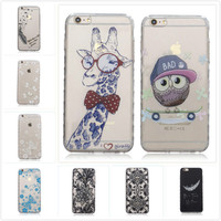Cartoon Transparent Soft TPU Silicon Phone Case for Apple iPhone 6 Plus 6S Plus Owl Bear Butterfly Floral Painted Gel Back Cover