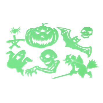 Halloween Luminous Wall Stickers Funny Pumpkin Ghost Witch Bat Skeleton Glow in the Dark Decals for Wall Ceiling Window