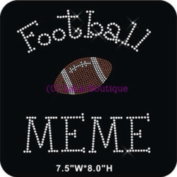 Football Meme  iron on hot fix rhinestone heat transfer - football appliqué - grandma rhinestone hotfix heat transfer