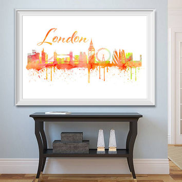 London City Skyline Watercolor -  Set of 5 Printables - Watercolor effect - London Skyline - Printable London Watercolor - Instant Download