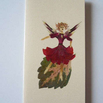 "Handmade unique greeting card ""Floating on a leaf"" - Decorated with dried pressed flowers and herbs - Original art collage."