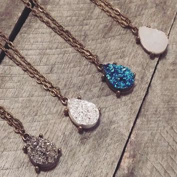 Bronze tone teardrop druzy necklace Day-First™