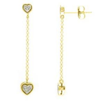 14k Yellow Gold Diamond Heart Dangle Birthstone Earrings SI,GH