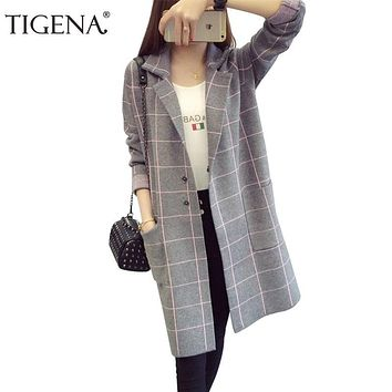 TIGENA Plus Size 3XL Plaid Long Sleeve Cardigans Women 2018 Autumn Winter Long Sweater Cardigan Female Tricot Knitted Jacket