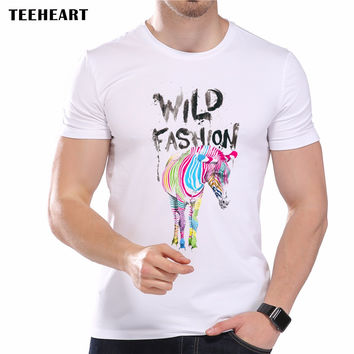 New Men's Cool Wild Fashion Color Zebra Printed Designer T-Shirt Summer Modal Animal Graphic Top Tees
