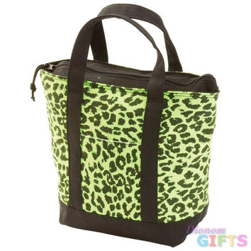 GREEN LEOPARD LUNCH/COOLER BAG