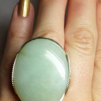 SALE Mint Green Statement Ring, Big Stone, Antiqued Sterling Silver, Custom Handmade Jewelry