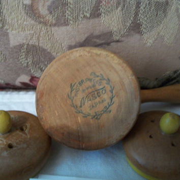 VINTAGE  Wooden Salt & Pepper Shakers by Nasco Master Wood Japan