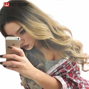 Wignee Hand Made Front Ombre Color Long Blonde Synthetic Wigs For Black/White Women High Temperature Cosplay Fake Hair Sexy Wig