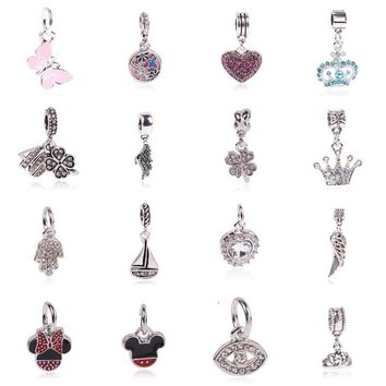 Free Shipping 1Pcs Silver Bead Charm European Silver with Angel wings Charm Pendant Be