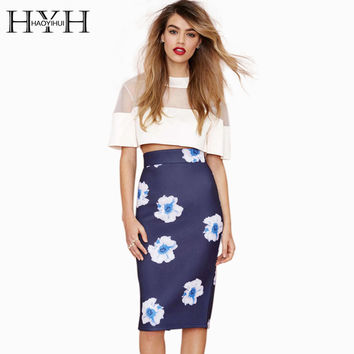 HYH HAOYIHUI High Waist Over Hip Slim Flower Printed Bodycon Elegant Bottom Casual Skirt Office Lady Mini Pencil Skirt