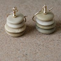 Tan Cairn Earrings - gold fill metal - beach stone earrings  -  Cairn Earrings - Cairn Jewelry - boho fashion - Toasted Almond - Spring