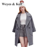 Weyes & Kelf Gray Long Thick Wool Woman Winter Coats And Jackets Woolen Long Sleeve Winter Trench Coats Women Woolen Overcoat